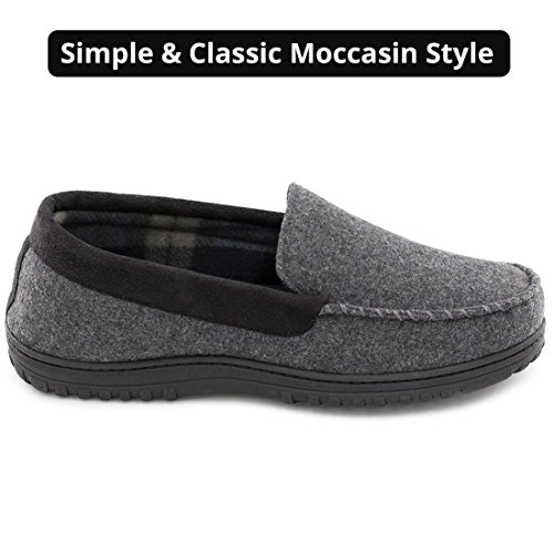 HomeTop Men's Indoor Outdoor Wool Micro Suede Moccasin Slippers House Shoes Dark Gray FhZ7mMLh