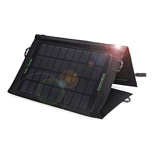 Foldable Solar Charging Panel (Coocheer iSmart Technology Solar Phone Charging Panel, Portable Foldable 7W Solar USB Charger for iPhone, iPad, Android,Tablets, Camera,)