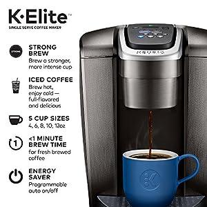 Keurig K-Elite Coffee Maker, Single Serve K-Cup Pod Coffee Brewer, With Iced Coffee Capability from Keurig