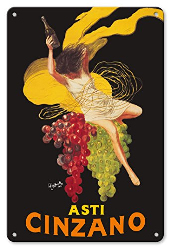 8in x 12in Vintage Metal Tin Sign - Asti Cinzano - Asti Spumante - Italian Sparkling White Wine by Leonetto (Asti Spumante)