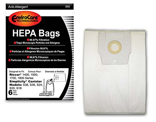 EnviroCare Replacement HEPA Vacuum bags for Riccar 1400, 1500, 1700, 1800 Series and Simplicity S38, S36, S24, S20 and S18 Canisters 6 pack ()