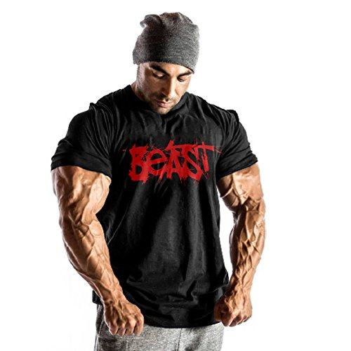 InleaderAesthetics Men Gym BodybuildingCotton Athletic Undershirt Crew Neck Breathable Training Muscle Workout Short Sleeve Besat Sportwear T-Shirt Tee-Black red-XL by InleaderAesthetics