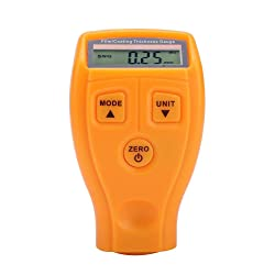 Mini Paint Thickness Tester Professional Digital Coating Meter Gauge LCD Display Paint Measure Tester Tool Instruments GM200/GM200A(Yellow)
