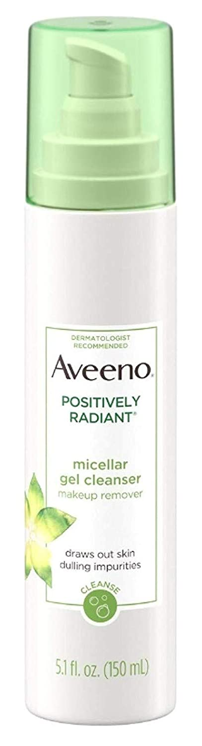 Aveeno Positively Radiant Micellar Gel Cleanser 5.1 Ounce (150ml) (3 Pack)