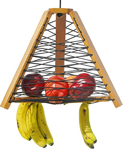 Premium wooden hanging fruit basket with banana hanger for kitchen. Beautiful natural teak wood holds a big 20 pounds. Handmade with Marine Grade Elastic Line. Extend Life of Fruit & Vegetable (Beautiful Fruit Basket)