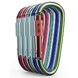 Aluminio Mosquetón D Forma Buckle, Hebilla de llavero Clip, Spring Snap Key Chain Clip Gancho Tornillo Puerta–Pack de Assorted Color carabiners