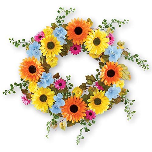 Collections Etc Colorful Lush Daisy Wreath with Greenery - Seasonal Window or Door Accent for Any Room in Home (Summer Swags Door)