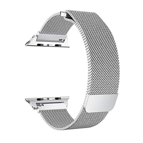 OROBAY Compatible with Apple Watch Band 42mm 44mm, Stainless Steel Milanese Loop with Magnetic Closure Replacement Band Compatible with Apple Watch Series 4 Series 3 Series 2 Series 1, Silver