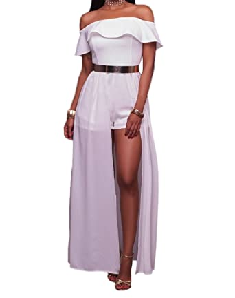 320e25085eab Women Sexy White Frill Off Shoulder Ruffle Sleeves Chiffon Maxi Romper Dress  Overlay Shorts Jumpsuit Playsuit at Amazon Women s Clothing store