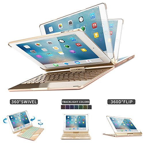 2018 iPad 6th Generation/Pad Air/iPad Air 2/iPad Pro 9.7/iPad 9.7 Keyboard Case,Dingrich 360 Degree Rotating Full Angle Smart Keyboard Case with 7 Color Backlight and Auto Sleep Wake up Feature - Gold