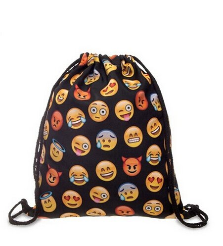 brosuper Unisex Emoji-Rucksäcke 3D-Druck Taschen Kordelzug Rucksack Teenage Kordelzug Bag Schulter Schule Rucksack Reisen Turnbeutel