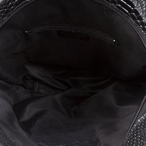 bolsillo Cm Italiana bolso Negro bolso Grabado Pelle Firenze Vera Artegiani Exterior Bag Auténtica In De 33x31x11 Mujer Hombro Piel Cuero Shopping Color Genuino Italy Serpiente Made gW6F1W4