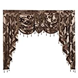 "NAPEARL European Style Luxury Waterfall Valance Living Room Window Decoration (1 Valance 61""Wx49""L, Brown)"