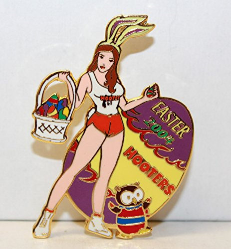 hooters-restaurant-collectable-enamel-holiday-happy-easter-2004-girl-bunny-with-basket-of-eggs-lapel