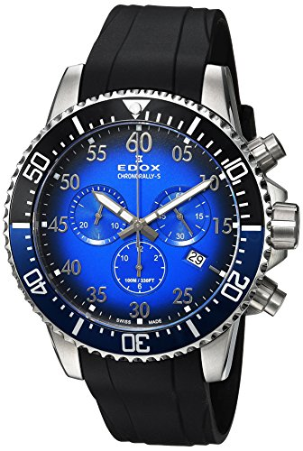 Edox Men's 'Chronorally-S' Quartz Stainless Steel and Rubber Sport Watch, Color:Black (Model: 10227 3NBUCA BUBN)