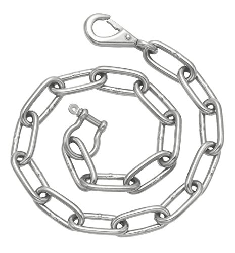 Stainless Steel Anchor Link Wallet Chain with Eye Snap Hook and Captive Pin Shackle ()