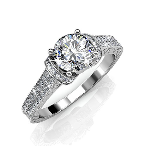 Cate & Chloe Laya Ruler 18k White Gold Plated Ring, Engagement Ring, Wedding Ring, Bridal Jewelry, Promise Ring, Engraved Ring, Filigree (Silver, 6)