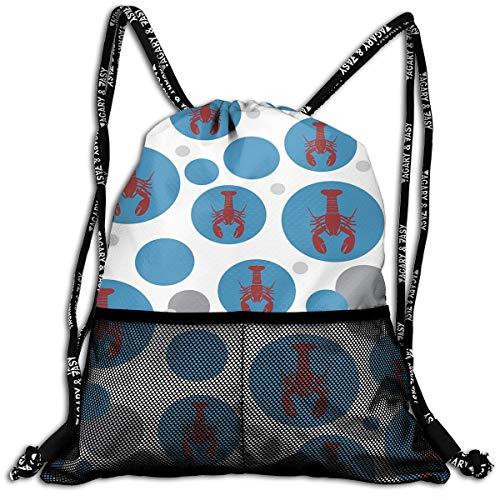 Drawstring Backpacks Red Lobster Circle Leisure Bundle Backp