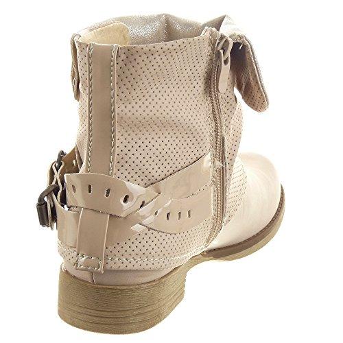Sopily - Scarpe da Moda Stivaletti - Scarponcini Biker Cavalier alla caviglia donna Tanga sexy fibbia Tacco a blocco 2.5 CM - Beige