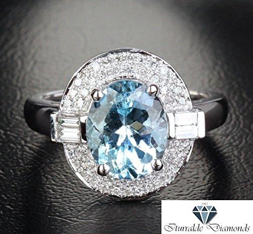 Baguette Accents (14k Oval Cut Aquamarine Engagement Ring Baguette Accent Diamond Pave Halo)