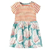 Vicky Piggy Little Girls Dress,Formal Dresses Summer Short/Long Sleeve Cotton Casual Dress (5T, Striped Flower)