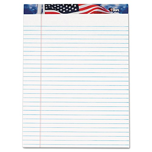 TOPS 75111 American Pride Writing Pad, Legal/Wide, 8 1/2 x 11 3/4, White, 50 Sheets (Pack of 12)