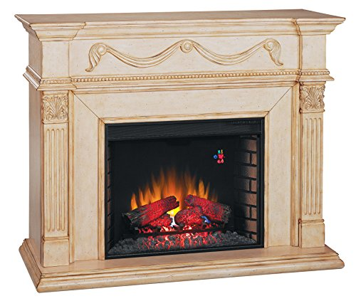 ClassicFlame 28WM184-T408 Gossamer Wall Fireplace Mantel, Antique Ivory (Electric Fireplace Insert sold separately) Capital Fluted Pilasters