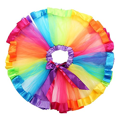 TRADERPLUS Little Girls Layered Rainbow Ribbon Tutu Skirt Dress Ballet Tiered (Large 7-9 ()