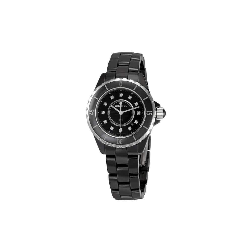 Amazon Com Chanel J12 Diamonds Black Ceramic Ladies Watch