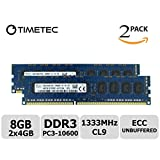 Timetec Hynix 8GB KIT(2x4GB) DDR3 1333MHz PC3-10600 Unbuffered ECC 1.5V CL9 2Rx8 Dual Rank 240 Pin UDIMM Server Memory RAM Module Upgrade HMT351U7EFR8C-H9T0 (8GB KIT(2x4GB))