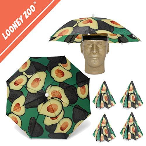 Looney Zoo || Umbrella Hat || Unique Colorful Umbrella Hats - Easy Elastic Fitting Umbrella Hat for Adults & Kids (The Avocado, 4 Umbrella Hats) by Looney Zoo