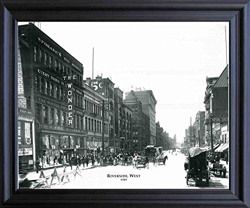 (Impact Posters Gallery Framed Wall Decoration Picture 1909 Riverside Vintage West Buggy Horse Black and White Black Art Print)