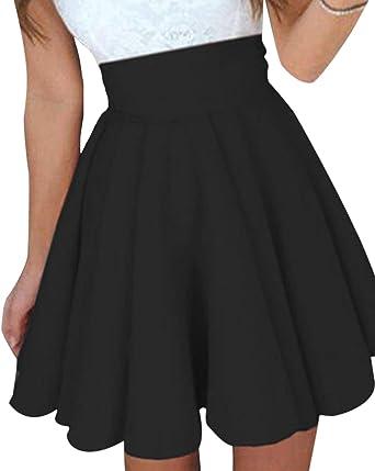 YOINS Falda Mujer Elástica Básica Patinador Multifuncional Mini ...