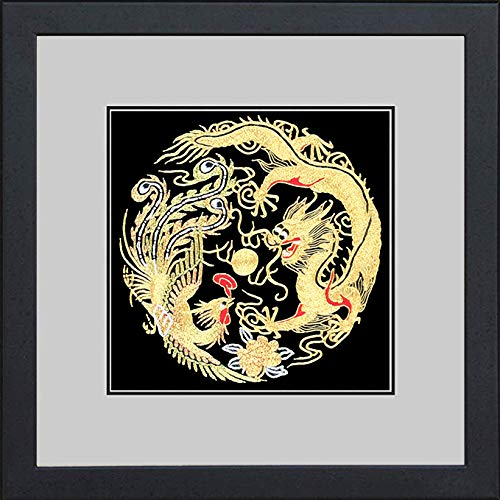 (King Silk Art 100% Handmade Embroidery Framed Golden Dragon & Phoenix Oriental Wall Hanging Art Asian Decoration Tapestry Artwork Picture Gifts)