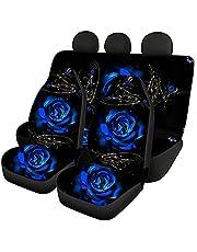 Coloranimal Blauw Rose Auto Stoelhoes Volledige Set Universele Auto Achterbank Covers Anti Slip Wasbare Huisdier Achterbank Kussen Decor Accessoire voor Vrouwen Mannen