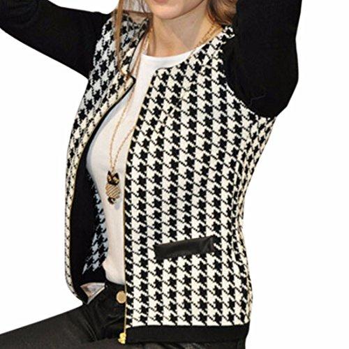 Women Black Houndstooth Cotton Blends Splicing Overcoat Jacket Long Sleeves (Cotton Blend Jacket)