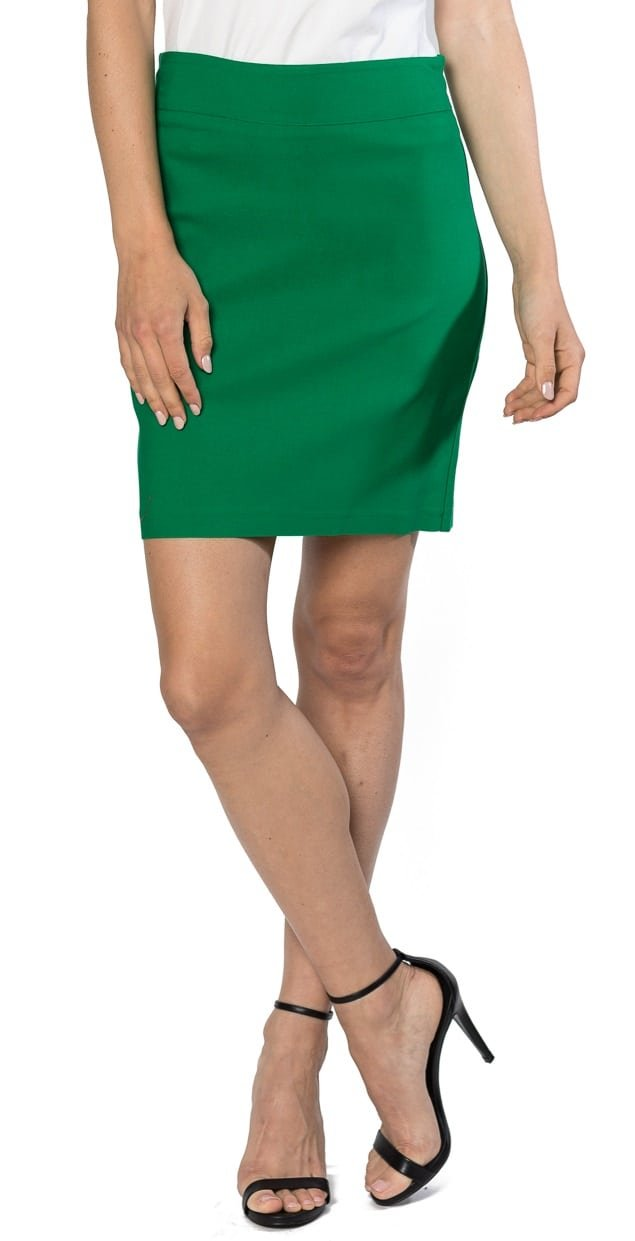 Velucci Womens Stretchable Mini Pencil Skirt - Above The Knee 19'' Length Classic Skirt, Green-L