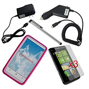 Skque HTC T-Mobile HD7 3Pack Crystal Clear LCD Screen Protector + Pink Silicone Skin Case + Wall USB Charger + Car Charger + Touch Screen Stylus Pen