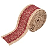 uxcell Burlap Celebration Festival DIY Handcraft Gift Wrapping Ribbon Roll 5.5 Yards Burgundy
