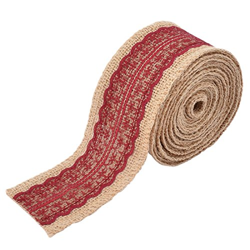 uxcell Burlap Celebration Festival DIY Handcraft Gift Wrapping Ribbon Roll 5.5 Yards Burgundy by uxcell