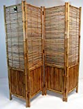 Master Garden Products Bamboo Self Standing 4 Panel Divider and Screen, 72 x 72'', Tan