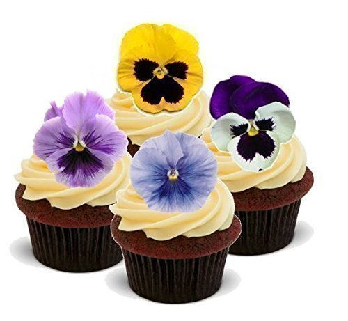NOVELTY SPRING PANSIES FLOWER MIX Easter - Standups 12 Edible Standup Premium Wafer Cake Toppers - 2 x A5 sheet - 12 images