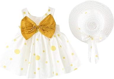 Ropa Bebe Niña Verano 2019 SHOBDW Vestidos+Sombrero Bow Punto Mini Vestidos De Fiesta De Cumpleaños Conjuntos Bebé Niña Recién Nacida: Amazon.es: Ropa y accesorios