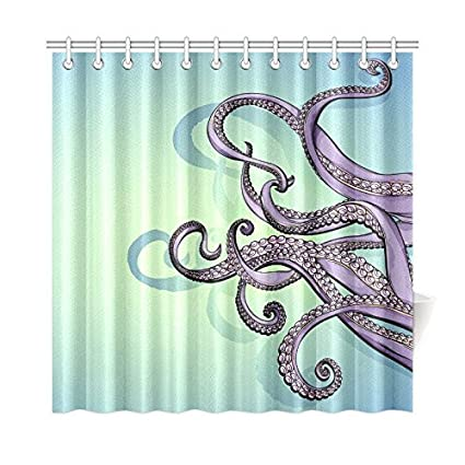 Home Bathroom Decor Colorful Art Funny Octopus Shower Curtain Hooks 72x72 Inch Blue Violet Purple