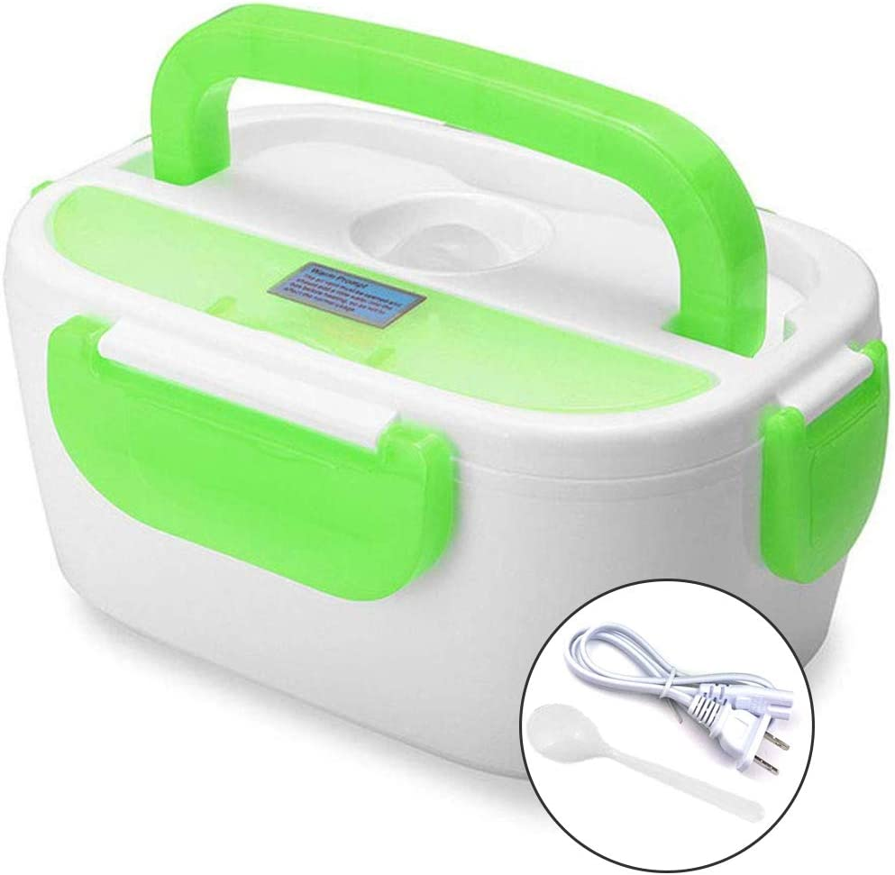 INVODA Electric Lunch Box Food Heating Portable Lunch Heater with Removable Container Food Grade Material (Green)