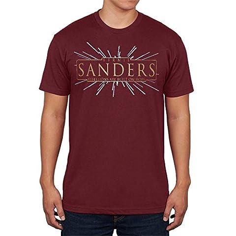 Bernie Sanders Rebellions Are Built On Hope Mens T Shirt Maroon SM (Built Sander)