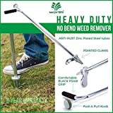 "Worth Garden Stand-up Weeder Root Removal Tool - Ergonomic Weed Puller A 33"" Tall Handle Foot Pedal - Easy Weed Grabber Made from Rust-Resistant Steel - 3 Year Warranty"