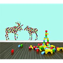 DAYCARE CLASSROOM 2 Colorful Moose & Baby Boy Girl Children Hunting Graphic Design Picture Sticker Mural Wall - Best Selling Cling Transfer Decal Color650 Size : 30 Inches X 50 Inches - 22 Colors Available
