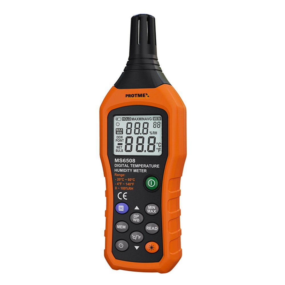 MS6508 Digital Humidity and Temperature Meter Three Types of Temperature Ambient Temperature Dew-point Temperature Wet Bulb Temperature Min/Max Data Hold and Store LCD Backlight Monitor Thermometer