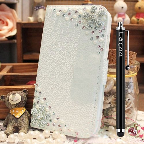 Locaa(TM) Nokia Lumia ICON 929 930 Nokia930 Nokia929 3D Bling Case + Phone stylus + Anti-dust ear plug Deluxe Luxury Crystal Pearl Diamond Rhinestone eye-catching Beautiful Leather Retro Support bumper Cover Card Holder Wallet Cases - [General series] flower sister2